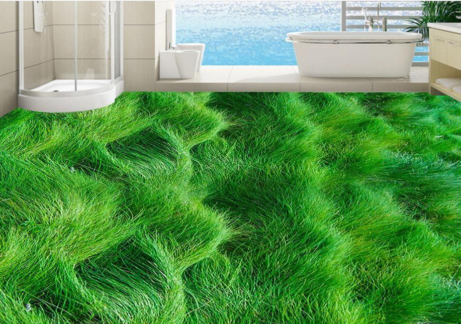 Custom 3d Floor Murals Hd Grass Scenery Floor Tiles Painting Bedroom