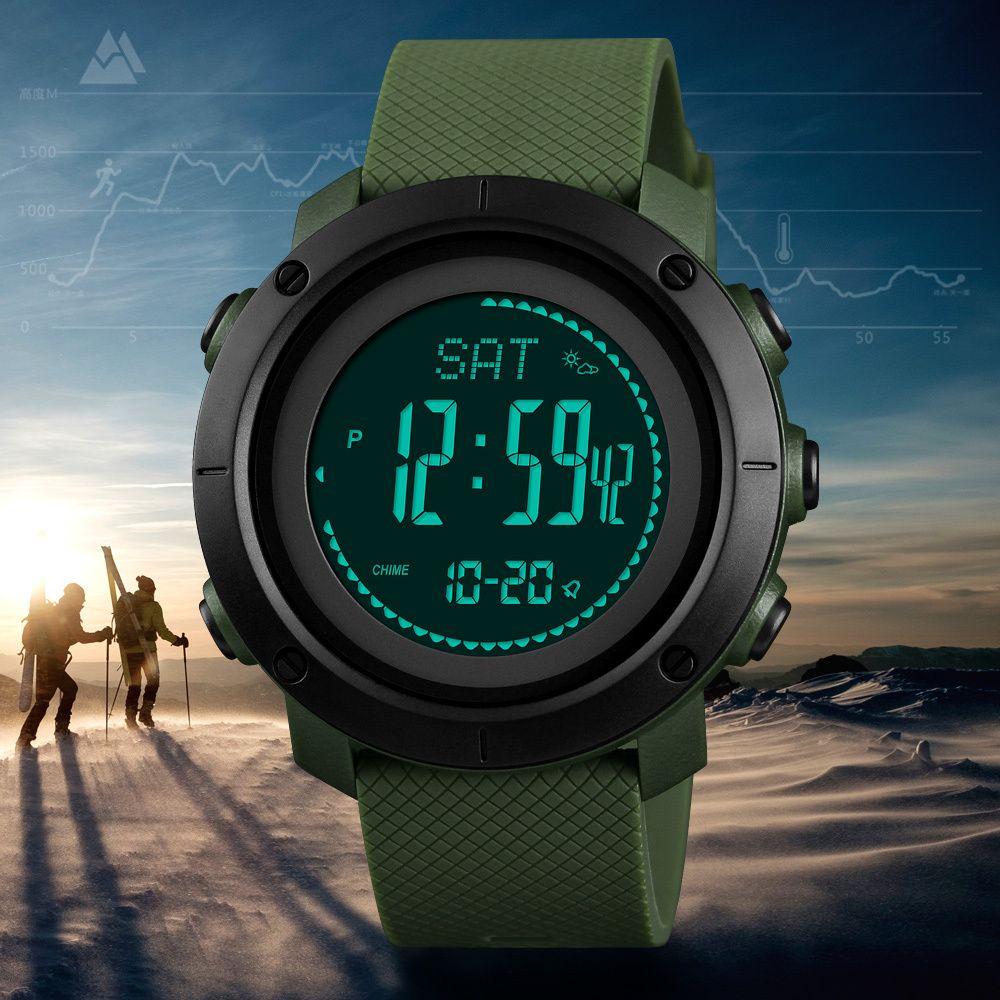 1a92cfed6c2 Compre SKMEI Altímetro Barômetro Termômetro Altitude Homens Relógios  Digitais Relógio Esportivo De Escalada Caminhadas Relógio De Pulso Montre  Homme 1418 ...