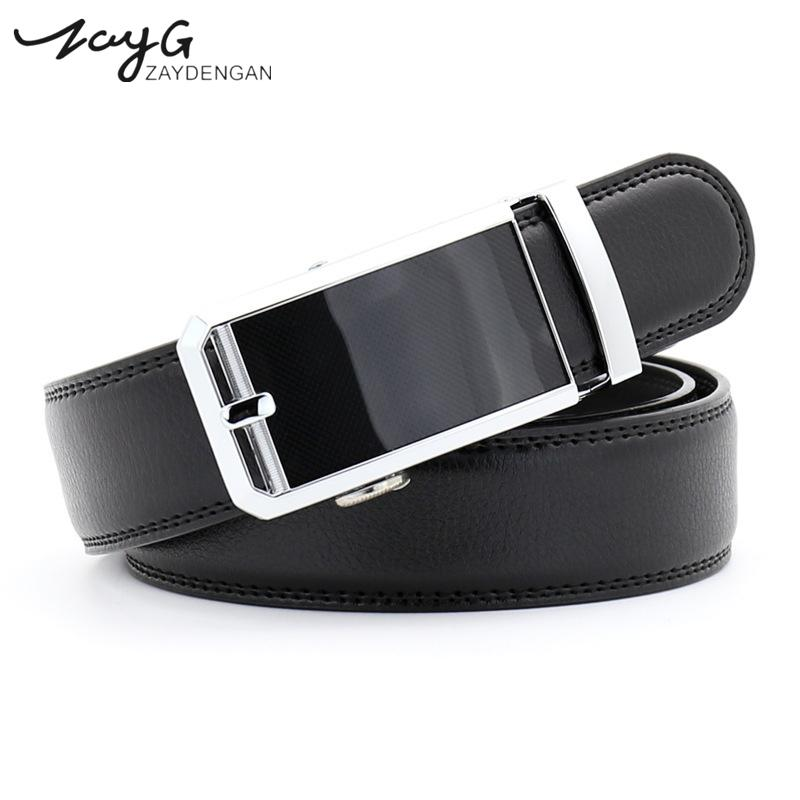 Zayg Men Business Style Gold Steel Buckle Belt Unique Leather Strap Sliding Ratchet Alloy Automatic Buckle Men Top Quality Belt Back To Search Resultsapparel Accessories