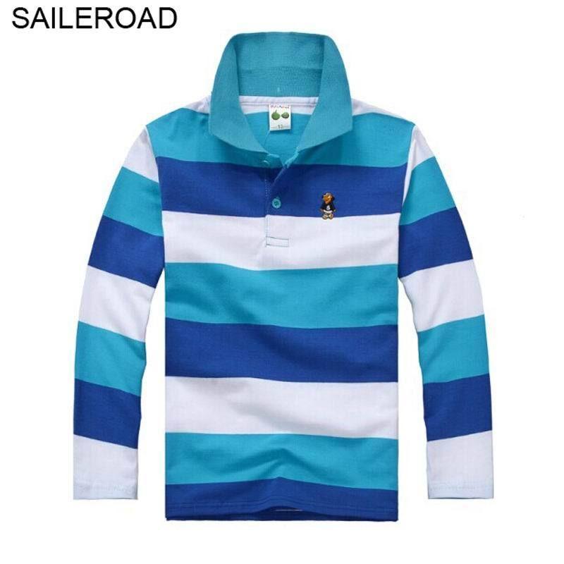 d62aa09e0b 2019 Saileroad 3 15year Juvenile Big Kids Boys Polo Shirts Cotton Striped  Colors Casual Teenager Children Girls Long Sleeve Shirts From Roohua, ...