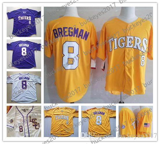 size 40 81396 863d9 Custom LSU Tigers College Baseball Stitched Any Name Number CWS Purple Gold  White #8 Bregman 17 LeMahieu Nola Gausman Jerseys S-4XL