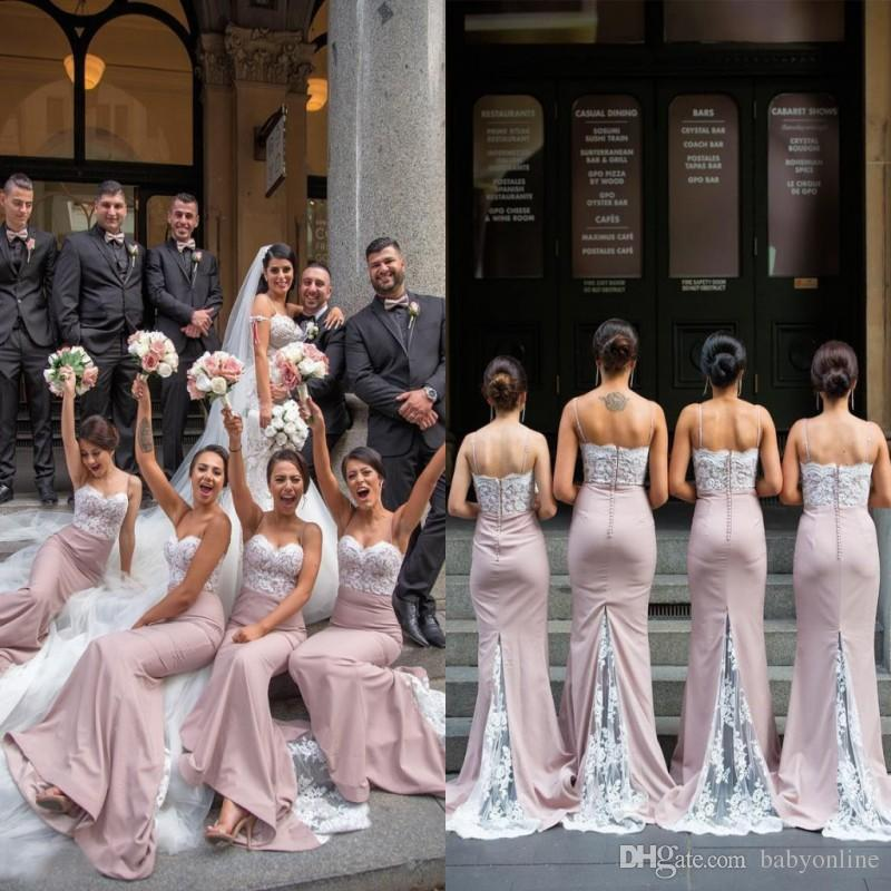 1a0326cfa66 2018 Dusty Pink White Appliques Mermaid Bridesmaid Dresses For Western  Church Weddings Backless Wedding Guest Dress Customer Made Violet  Bridesmaid Dresses ...