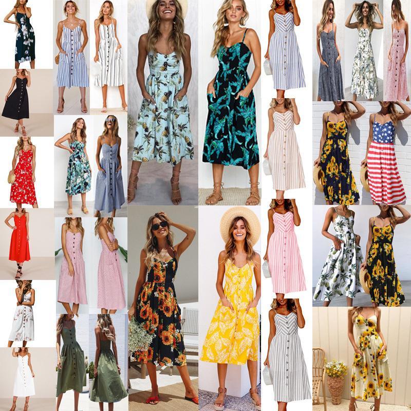25ce72ca66f2c Women's Dresses Summer Floral Bohemian Spaghetti Print Strap Casual ...
