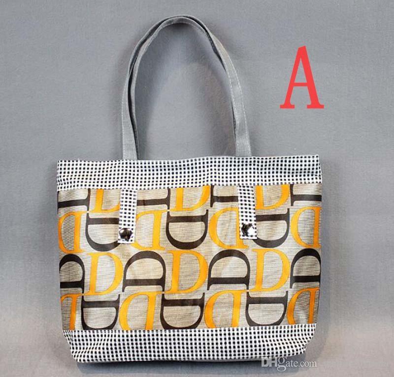 5шт 2018 печатных букв женщин холст пляжные сумки 7 цветов большой емкости модные сумки на ремне