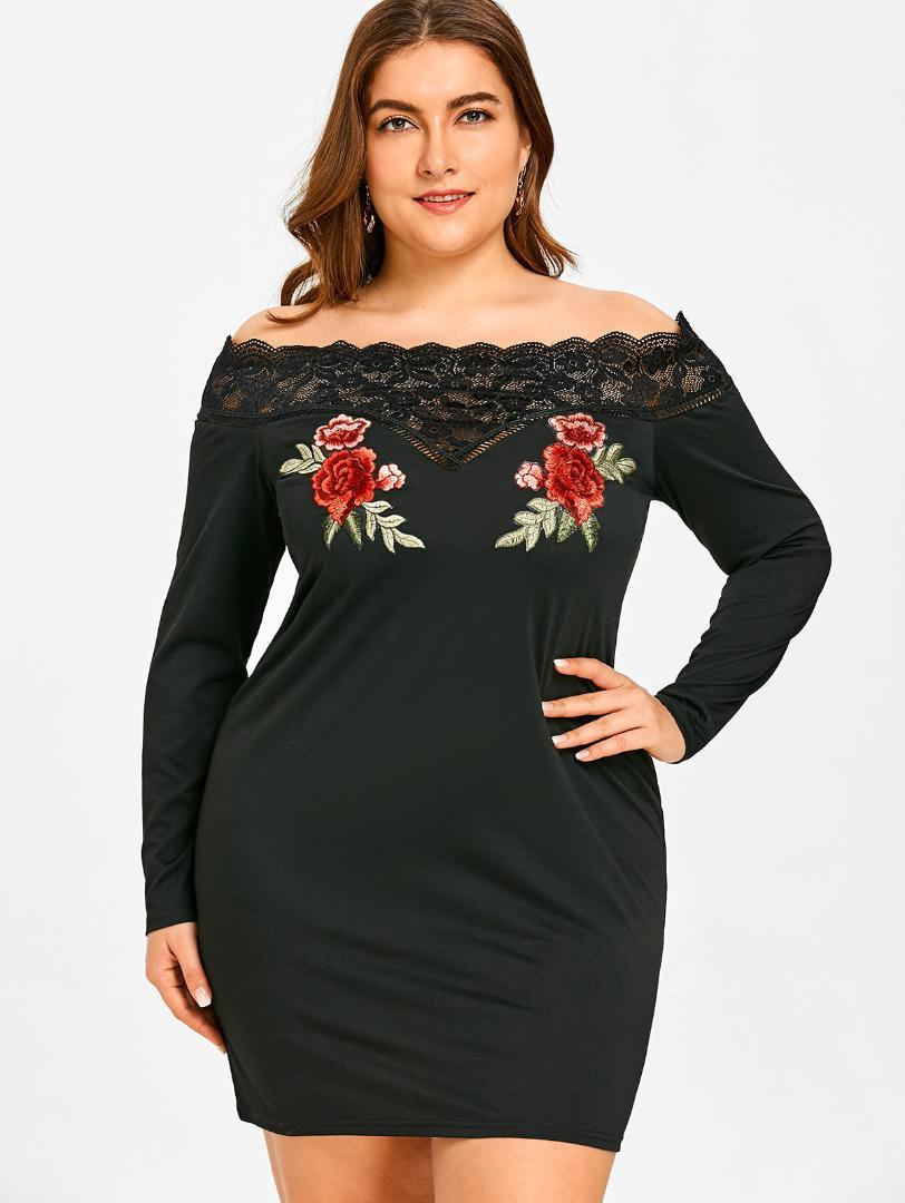 69aa4496abd7 2019 Wipalo Plus Size Flower Embroidered Off Shoulder Bodycon Dresses Solid Lace  Panel Vestidos 2018 Elegant Sexy Club Party Dress From Finebeautyone