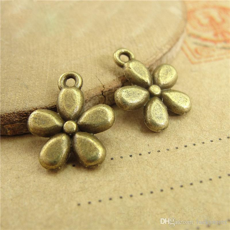 11*13MM jewelry accessories factory zinc alloy, metal retro cheap flower charms decorative pendants, DIY production materials