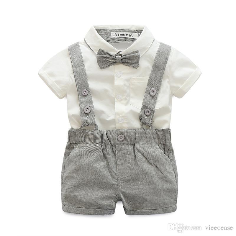 2c102ea3ca7 Boys Plaid Sets Kids Clothing 2018 Summer Fashion Bow Short Sleeve ...
