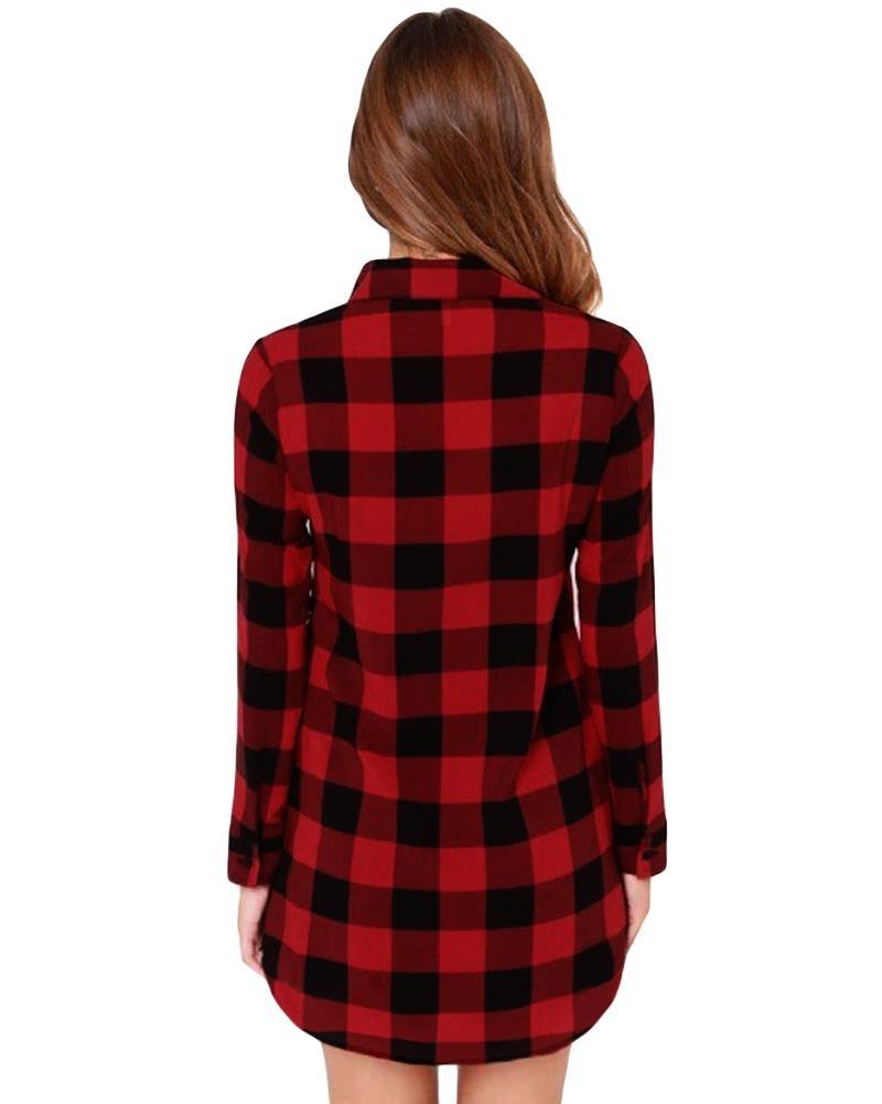 여성 코튼 체크 무늬 셔츠 긴 소매 불규칙한 5XL 플러스 사이즈 여성용 셔츠 캐주얼 체크 튜닉 롱 블라우스 탑 블랙 / 레드 블라우스