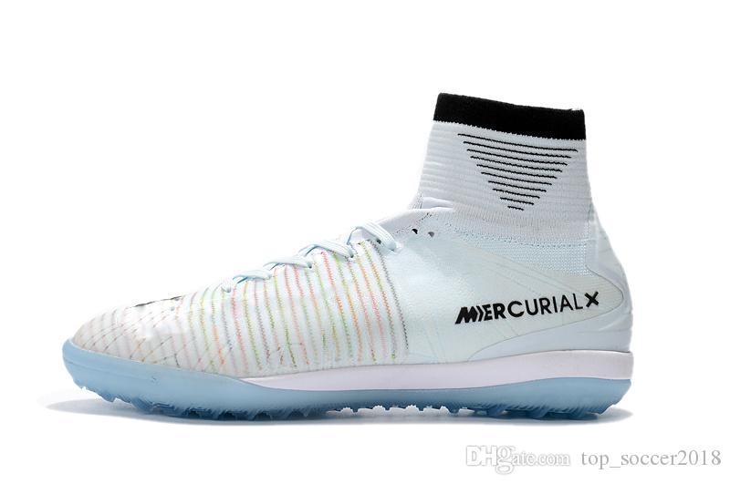 2018 Топ 100% оригинальный белый CR7 футбольные бутсы Mercurial Superfly V IC / TF крытый футбол обувь высокое качество Криштиану Роналду футбольные бутсы