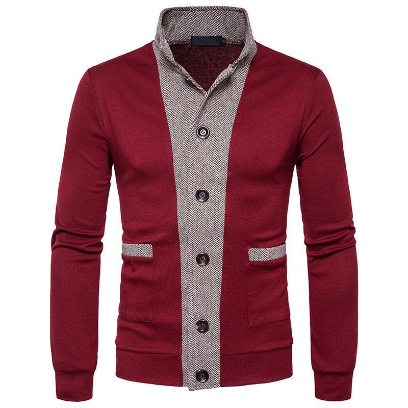 Hommes Chandail 2017 Nouveau Mâle Marque Casual Jersey Long Mens Cardigan Faux Deux Pièce Slim Fit Rouge XXL Homme Chandails Hommes Tricots