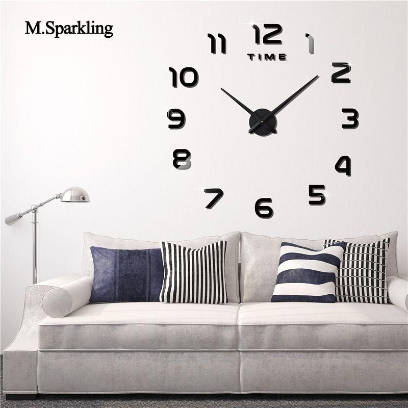 Msparkling Large Digital Wall Clock 3d Kitchen Living Room Wall