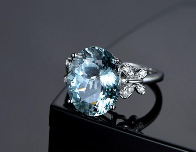 Blue Diamond Topaz Ring Wedding Crystal Butterfly Rings Brida Fashion Jewelry Gift Drop Shipping