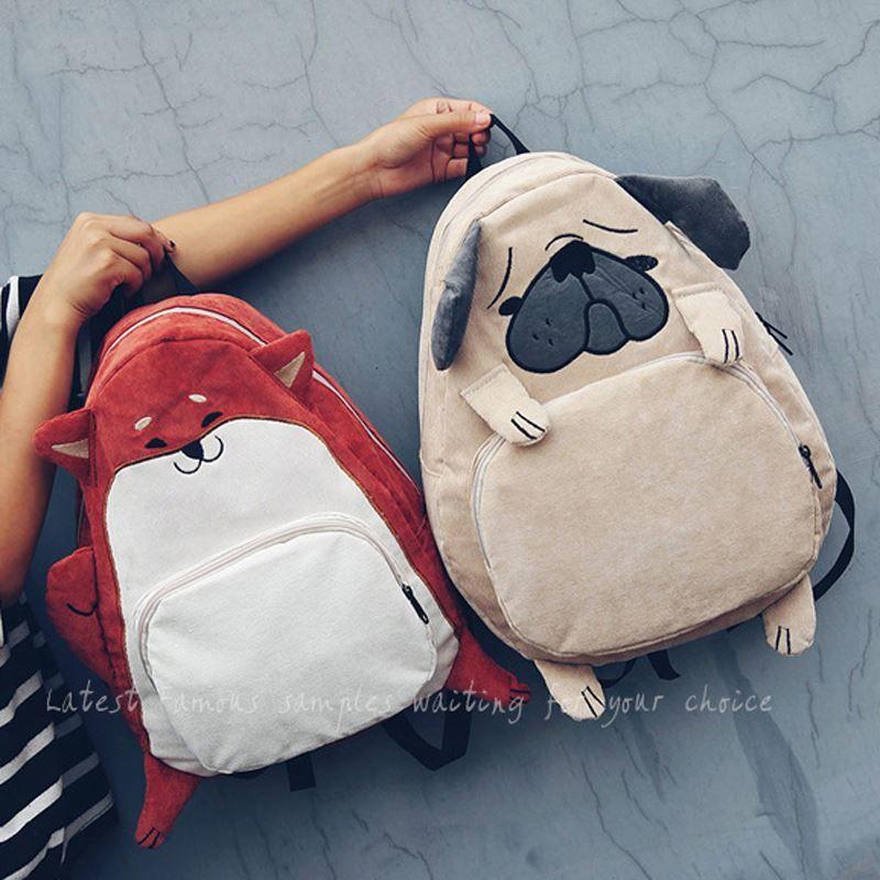 7226adf651f Women Backpack Schoolbag Canvas Cute Dog Fox Ear Embroidery Corduroy Backpack  Female Vintage Notebook Backpack For Girls School Swiss Backpack Laptop ...