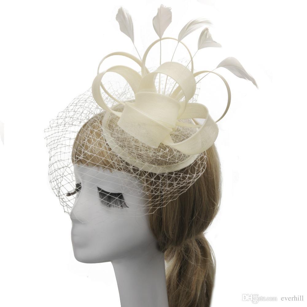 JaneVini 2018 Elegant Black Feathers Birdcage Veil Bride Hat With Hair Pin Beige Mesh Bridal Hats Wedding Wedfing Fancinetor