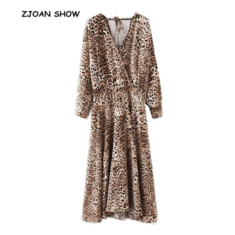 Retro Cross V Neck Leopard Pattern Print Dress 2018 Woman Long Sleeve  Lacing Up Backless Asymmetrical Dresses New Casual Vestido Dresses Cheap  Dresses Retro ... 08665538d699