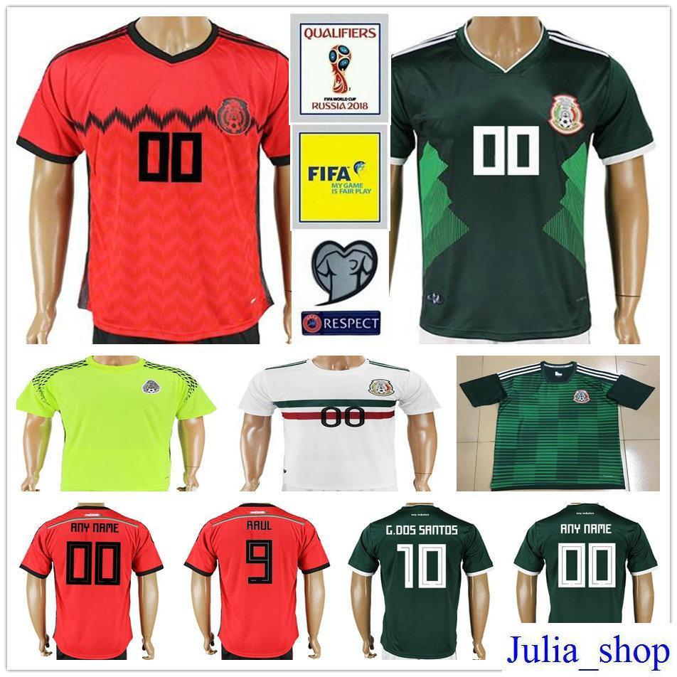 Compre 2018 Copa Do Mundo México Camisas De Futebol Maillot De Pé Verde  Vermelho Branco R.Jimenez 10 G.Dos Santos 14 Chicharito Personalizar Camisa  De ... 71dd164adb264