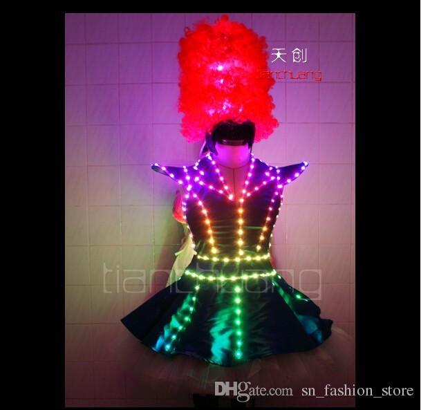 TC-64 Waiter Full color LED costumes colorful light RGB women skirt dj bar wears led ballroom dance bra programming sexy dress performance