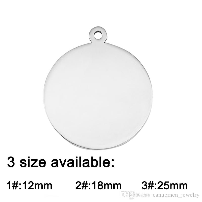 Round Shape Pendant Charms Blank Stainless Steel Polished Customized Engraving Jewelry DIY Accessory for Dog Tag Necklaces Key chains