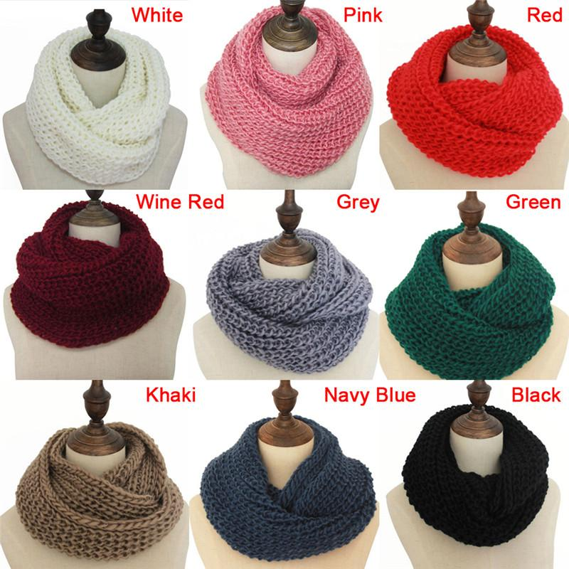 Knitted Warm Neck Circle Scarf Unisex Crochet Ring Loop Cable Ring