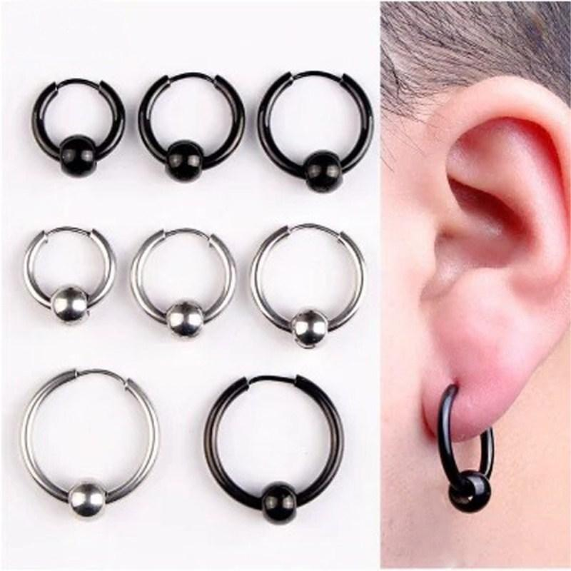 42ac39610ebe7 whole saleYIXI Hoop Earrings Stainless Steel Punk Men Earrings Ball Pendant  Circle Ring Earring Piercing Jewelry Christmas Gift