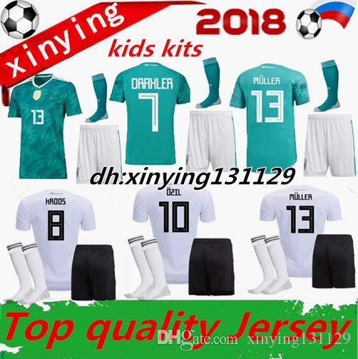f768997956643 Compre Copa Do Mundo 2018 Alemanha Crianças Futebol Jersey Kit Longe Muller  Hummels 18 19 Goretzka Ozil Kroos Drahler Werner Uniforme De Futebol Camisas  De ...