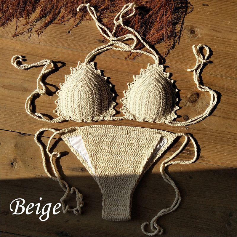 b78fb30705c9b 2019 Handmade Sexy Bikini Set Boho Bikini Knit Crochet High Waist Shorts Tassel  Swimwear Beachwear Bathing Suit From Dh180255
