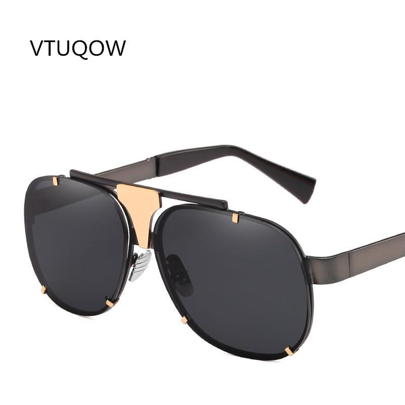 290d5d55ba180 Compre Luxo Piloto Do Vintage Óculos De Sol Da Marca Designer De Moda Retro  Oversized Óculos De Sol De Metal Para Homens Oculos De Sol Masculino Uv400  Tons ...