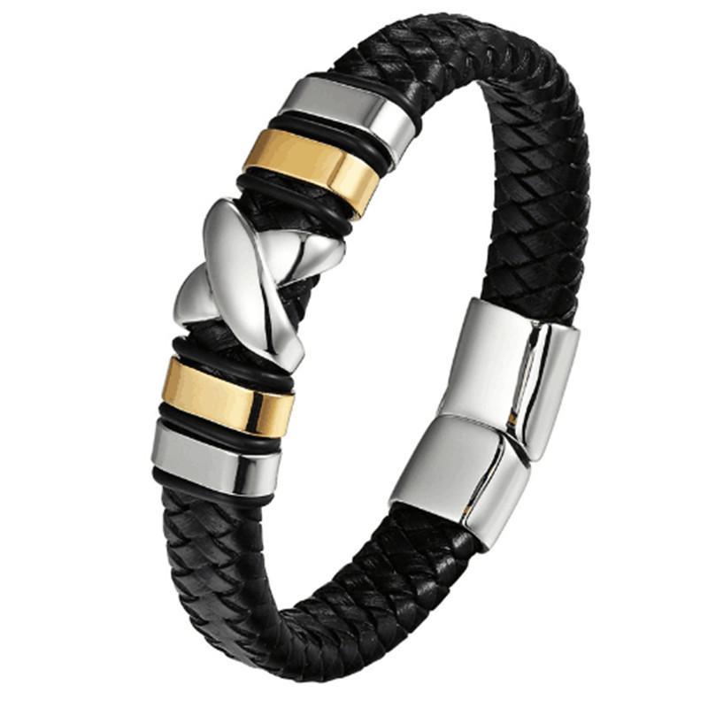 8d579e82cfc8b 2019 Fashionable Stainless Steel Bracelet Men S Leather Bracelets Genuine  Leather Woven Charm Bracelet 2018 Men Jewelry Party Gifts From Bestqueen