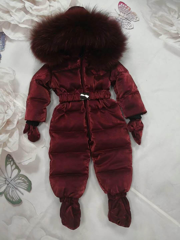 1aca87bd6b13 Russia Winter Kids Girls Boys Snowsuit Jumpsuit Baby White Duck Down ...