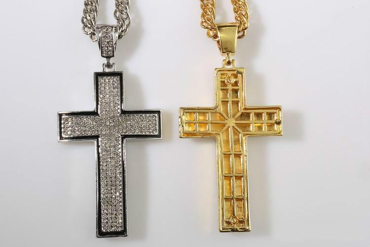 New Hot Hip Hop Jewelry Gold/silver Plated Full Crystal Cross Pendent Necklace Religion Men Jewelry Accessories Christianity Gifts
