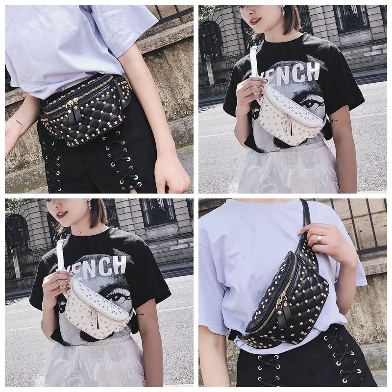 3d001692a89d Waist Bag Women Rivets Waist Fanny Pack PU Bags Fashion Velvet Leather  Chest Belt Handbag Shoulder Crossbody Chest Purse GGA878