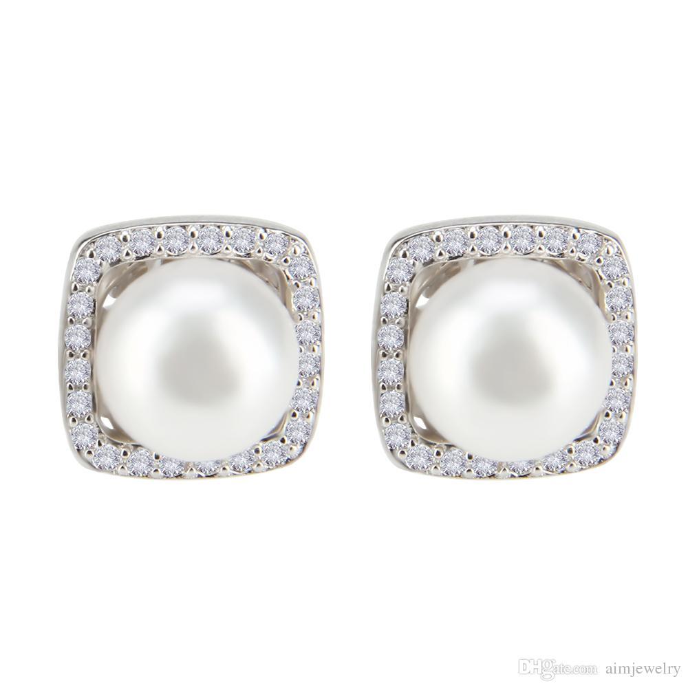 df256c9b2339 Compre Mujer 1 Par 925 Perlas De Pan De Plata Esterlina Aretes Cuadrados De  Boda Blanco