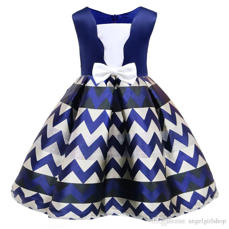 4608287a24c Summer Flower Girl Dress England Style Bow Stripe Tutu Princess Dresses For  Girls Baby Forma Girls Clothes Ball Gown For Girl Dress Flower Dresses For  Girls ...