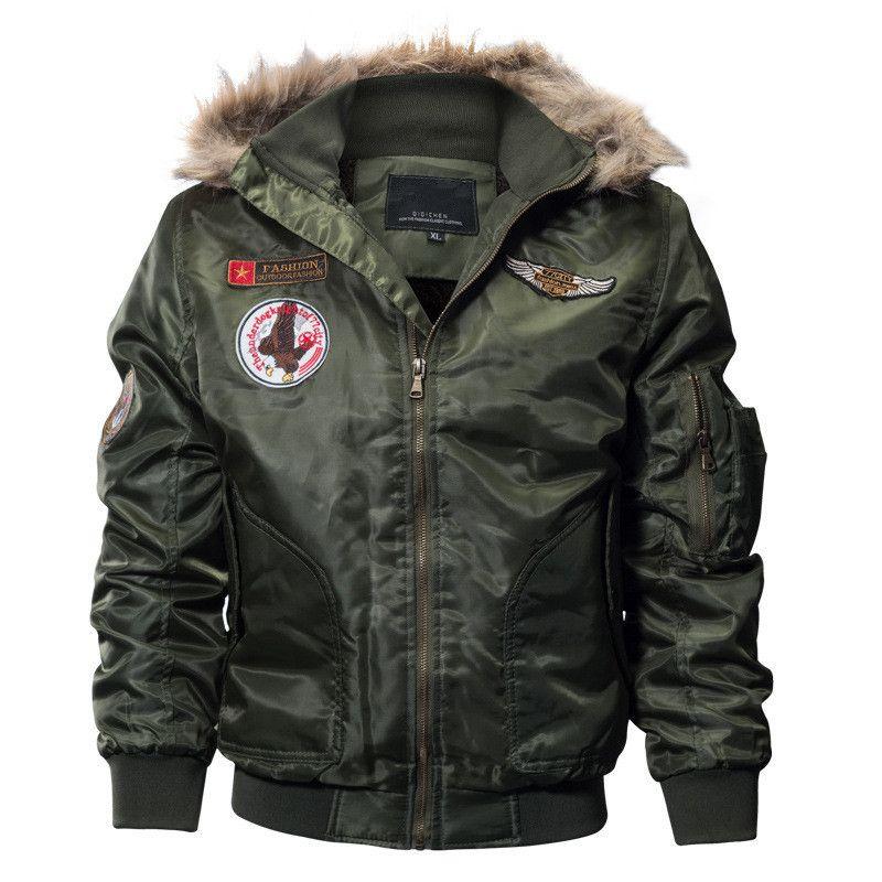 low priced cbc85 8314c MORUANCLE Herren Winter Warme Bomberjacken Fleece Gefüttert Dicke  Thermische Flug Jacken Und Mäntel Mit Kapuze Plus Größe M-4XL