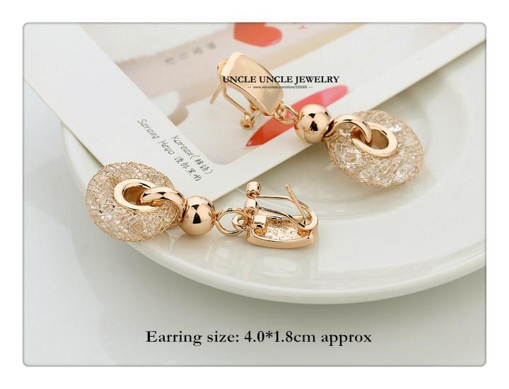 Gelin Takı Seti Altın renk Avusturyalı Zirkonya Kristal Iç Ağlar Tasarım Düğün Kolye / Bilezik / Küpe Toptan