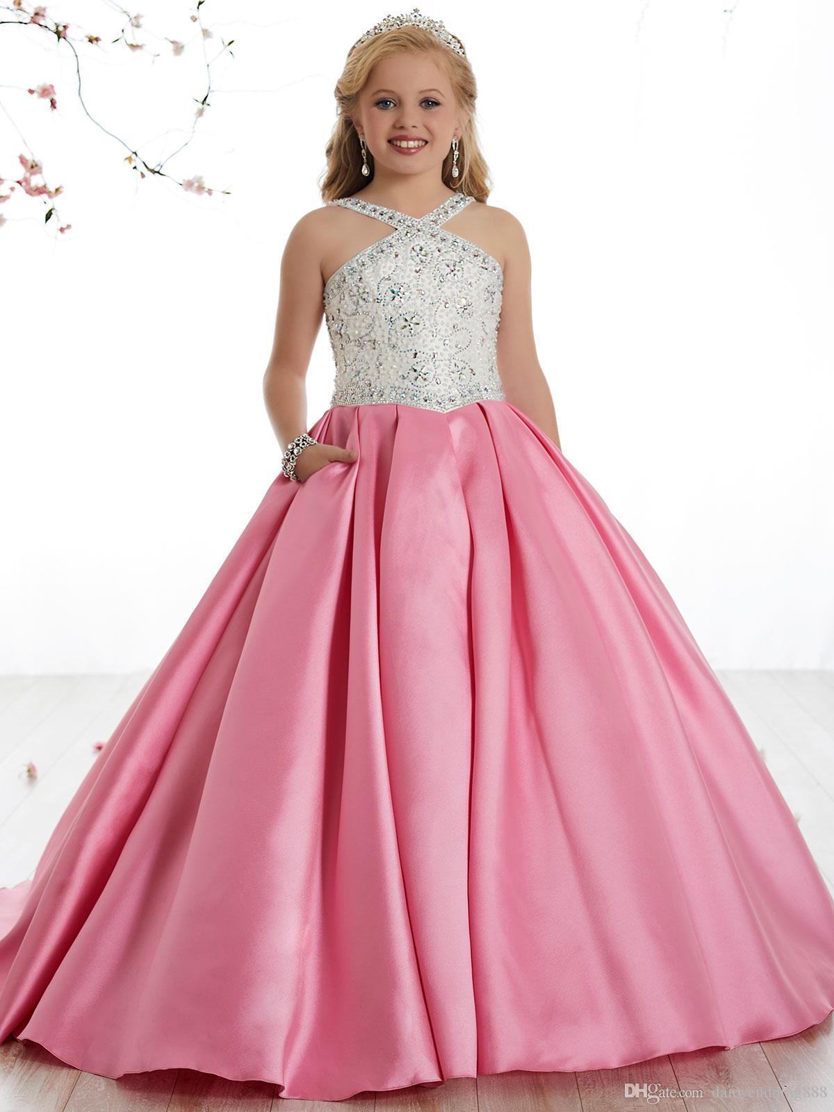 Compre Belleza Rosa / Blanco Cuentas De Satén Perlas Vestidos De ...