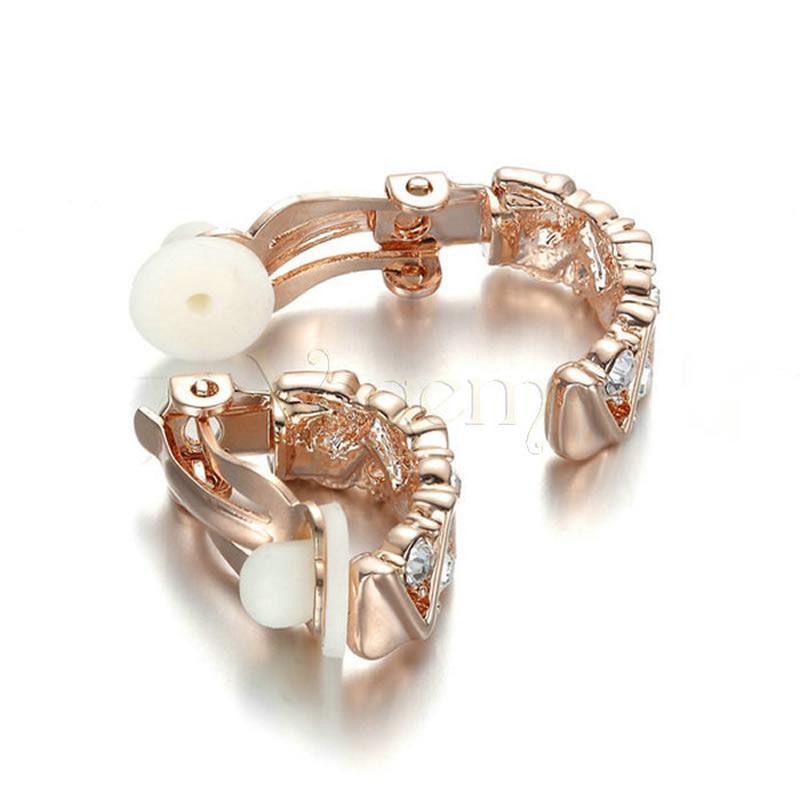 VOGEM cristallo classico rotondo clip su orecchini ragazza donne lega di rame oro rosa colore zirconia polsino orecchio fidanzata