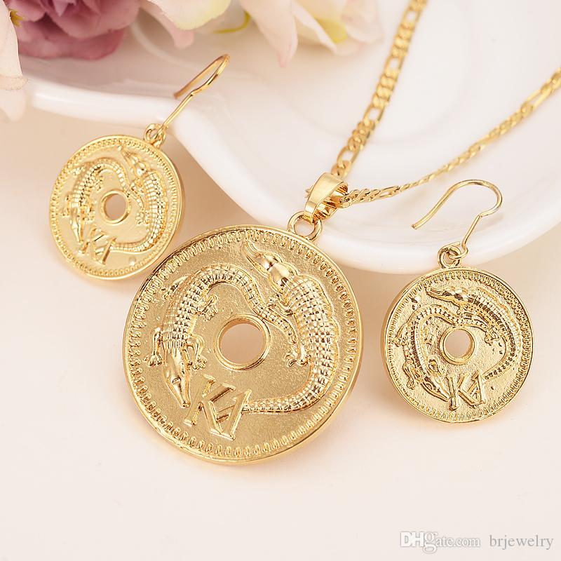 Großhandel Gold Farbe K1 Münze Anhänger Halsketten Ohrringe Ring