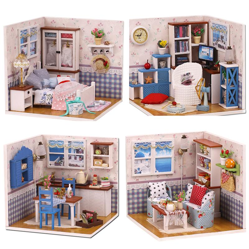 DIY Dollhouse Furniture Miniature Doll House Model Dust Cover With Led 3D  Wooden Houses Gift Toys For Children Christmas Gift Doll House Clearance  Little ...
