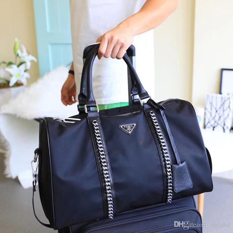 42ac8719d2ba 2018 Fashion Women Man Black Chains Gym Duffel Bags Oxford Handbags Travel  Luggage Bag Outdoor Sports Large Capacity Totes Bag Free Ship Relic Purses  ...