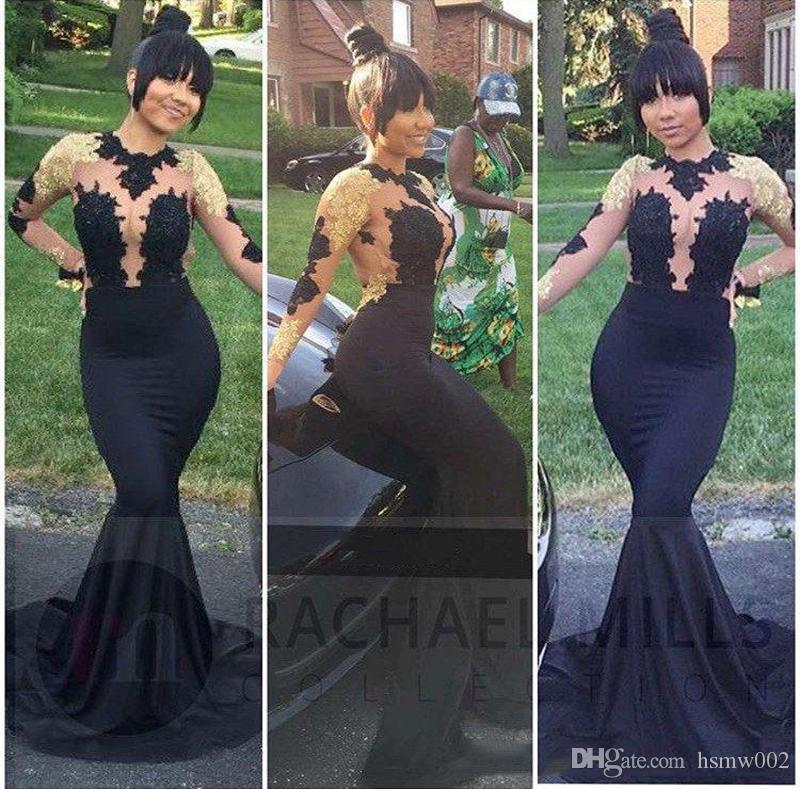 Hot Sale Black Mermaid Prom Dresses High Neck Sheer Long Sleeves Illusion Bodices Gold Appliques Beaded Sexy Backless Evening Party Gowns