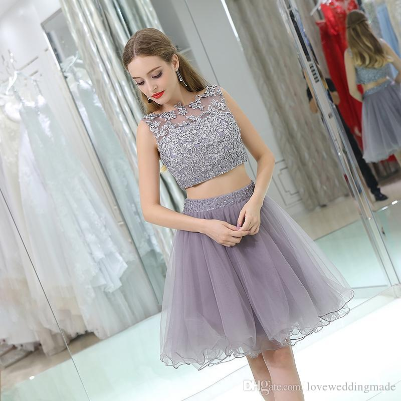 Two pieces short a line prom party dresses 2018 pretty applique lace tulle beads cheap homecoming cocktail gowns