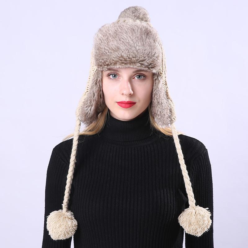 5c40da63f Winter Bomber Hat Russian Hat Earflaps Cap Protect Warm Thicken Knitting  Bomber For Women Woolen Bonnet Cap Pompom Ball Bomber Hats Cheap Bomber Hats  Winter ...