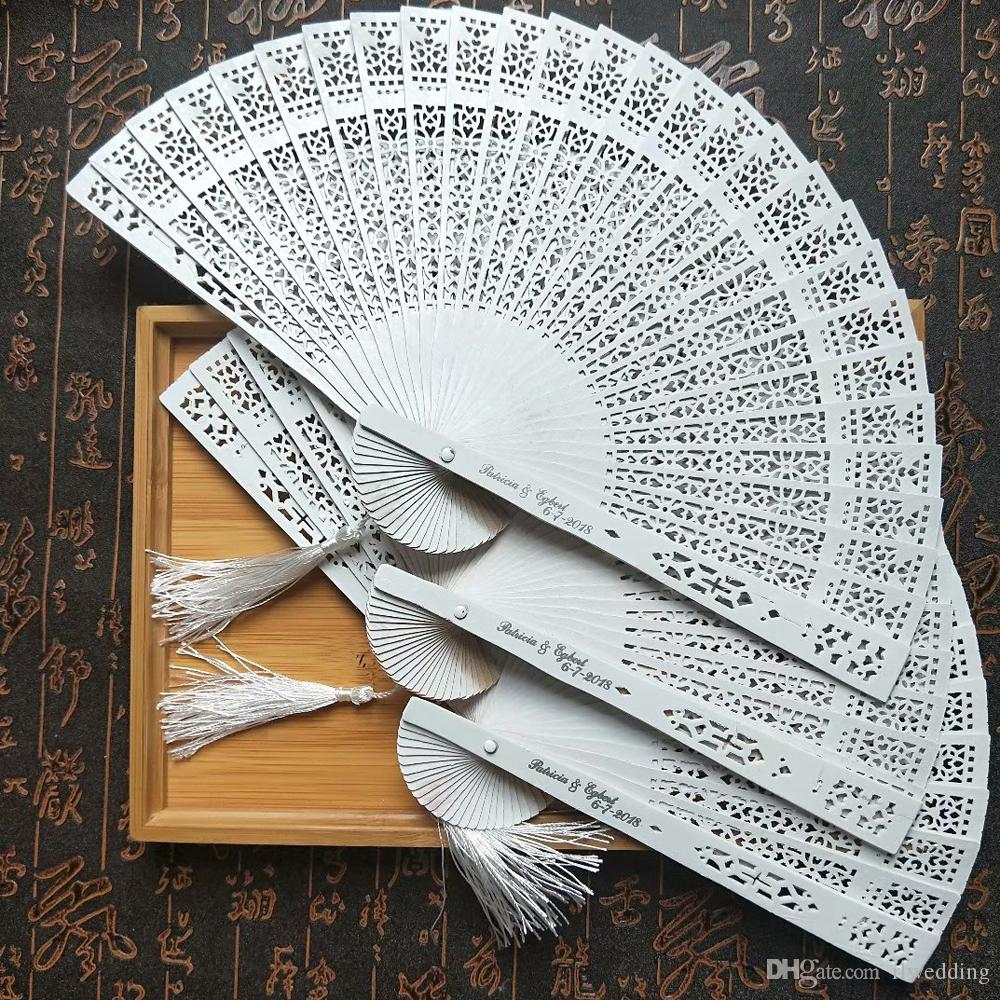 120Pcs Personalized White Wooden Folding Hand Fan Wedding Favor And Gift For Guest With Bride Groom Name & Wedding Date + Organza Bag/Tassel