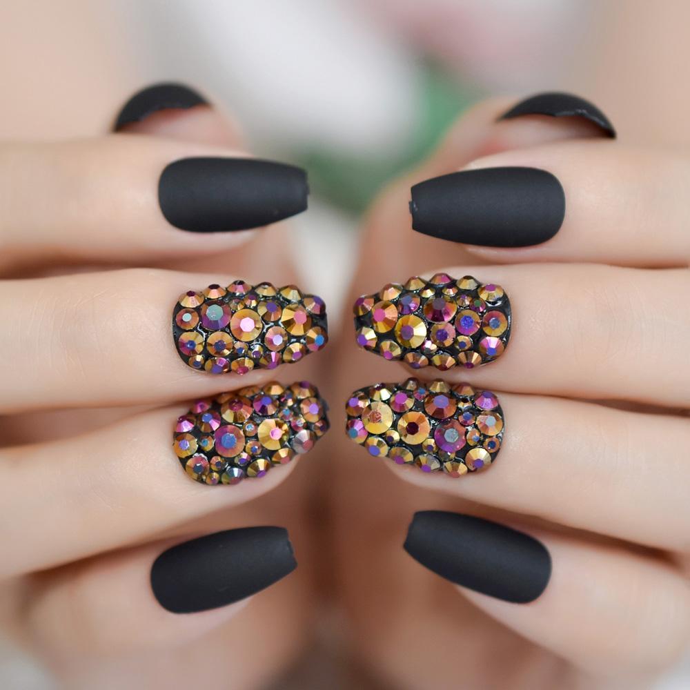 Coffin Nails Custom Medium Manicure Accessories Black Rhinestone ...