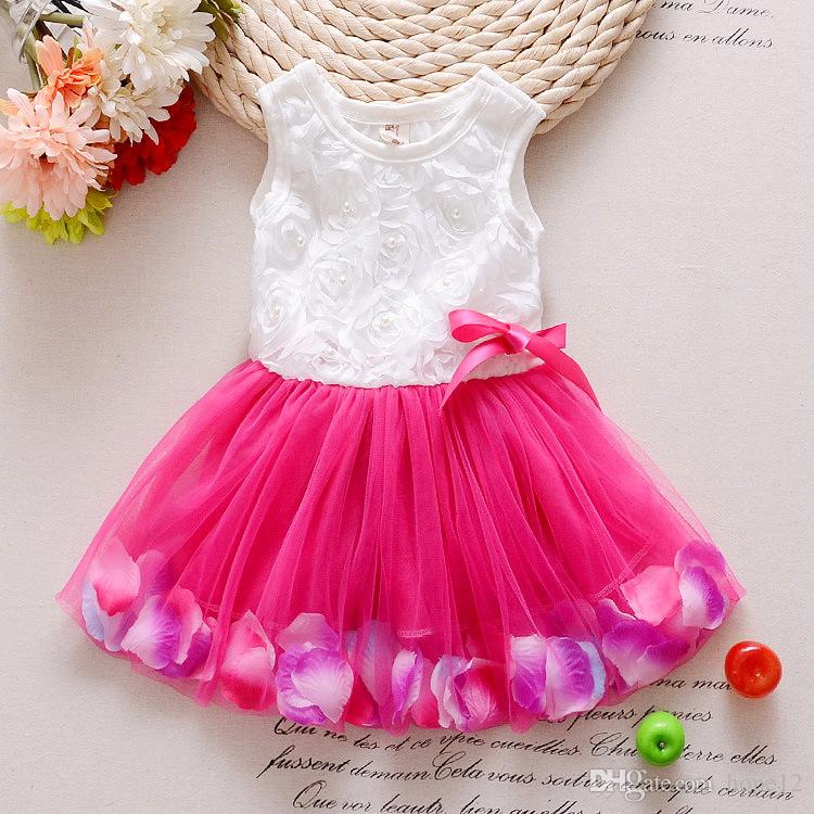 2018 Babies clothes Princess girls flower dress 3D rose flower baby girl tutu dress with colorful petal lace dress Bubble Skirt baby clothes