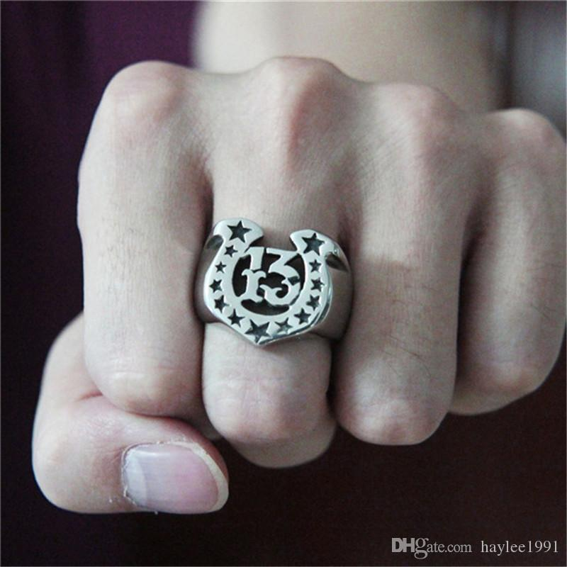 Size 7-13 Polish Stars Ring 316L Stainless Steel Popular Fashion Jewelry Biker Hiphop Style Hot Selling Men Boys Number 13 Ring