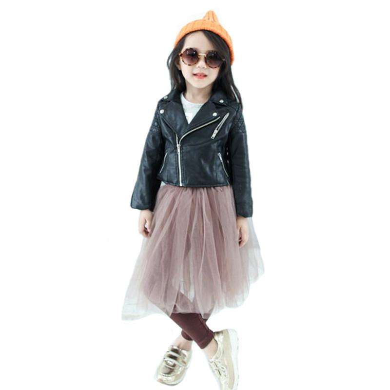 67b9e4ebb0d0 Autumn Kids Leather Jacket Girls PU Jacket Children Leather ...