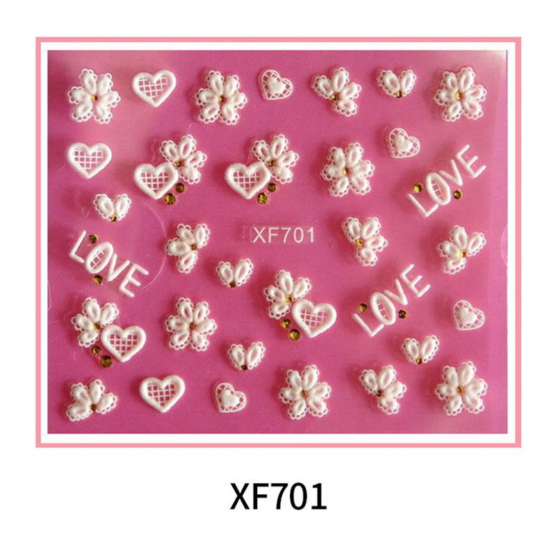1sheet Nail Stickers 3d White Lace Nail Stickers Stereo Flower Bow ... e1a5a76990a3