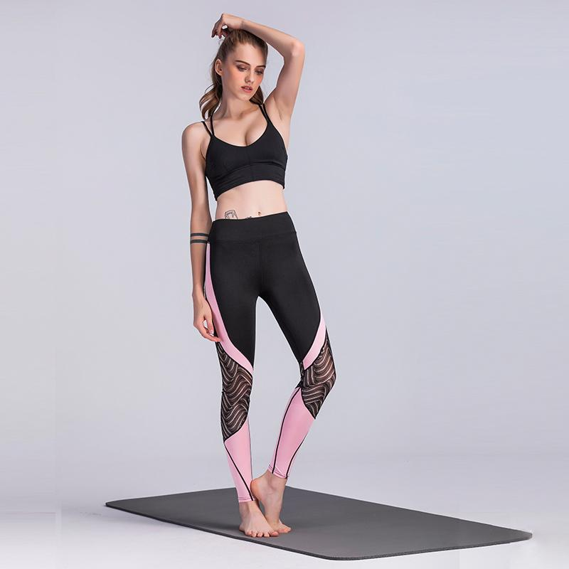 080b8bc3400e0 2019 2018 New Fashion Sexy Women Leggings Crochet Lace Splicing Color Block  High Waist Skinny Stretch Casual Pants Black From Qinfeng07, $29.11 |  DHgate.Com